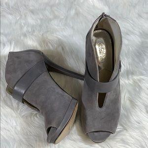 Michael Kors Gray Suede peep tie boots